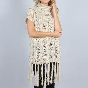 Sequin and Fringe Open Weave Knit Tunic